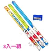 〔小禮堂〕哆啦A夢 三角鉛筆組附削筆器《3入.藍.招手》2B.學童文具 4717622-89010