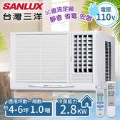 【台灣三洋SANLUX】4-6坪定頻窗型冷氣(110V電壓)。右吹式/SA-R281FE(含基本安裝)