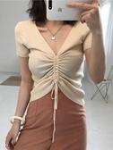 韓版抽繩系帶領恤女裝上衣港味短袖修身黑色針織衫
