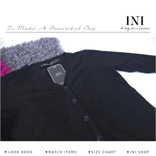 【INI】四季舒適、輕薄溫柔點點針織外套.黑色