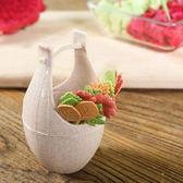 ♚MY COLOR♚木桶水果叉套裝 創意 水果 組合 樹葉 手柄 水果簽 糕點 甜品 蛋糕叉 廚房【P468】