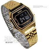 LA680WGA-1B 卡西歐CASIO復古數字型電子錶 金色不鏽鋼鐵帶 計時鬧鈴 數位電子女錶 黑色 LA680WGA-1BDF