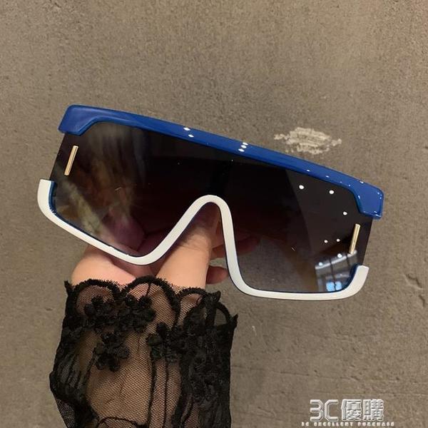 2021歐美大框個性連體防風眼鏡女潮騎行護目藍白墨鏡蹦迪太陽鏡男 3C優購