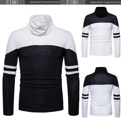 高領毛衣 拼接條紋針織衫 男士修身毛衫 E3327