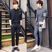 西裝套裝含西裝外套+西裝褲(二件套)-獨特橫面袖長條紋男西服73hc6【時尚巴黎】
