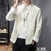 新款春季亞麻襯衫男士立領寬鬆薄外套中國風復古長袖棉麻襯衣 3c優購
