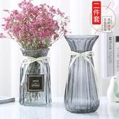 花瓶 【二件套】玻璃花瓶歐式彩色透明百合富貴竹水培花瓶客廳插花擺件 ATF poly girl