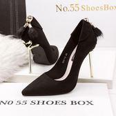 尖頭高跟鞋 金屬跟鞋 細跟兔毛鞋OL時尚休閒鞋《小師妹》sm1365