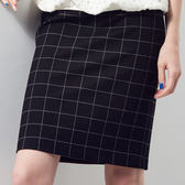 【SHOWCASE】格紋彈性修身及膝窄裙(黑)