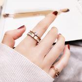 戒指 時尚食指戒指女日韓潮人鍍玫瑰金指環鑲人造鋯石首飾品不褪色