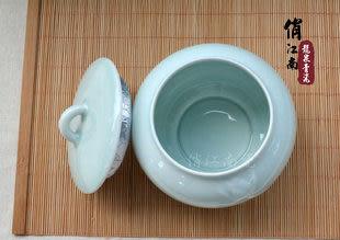 龍泉青瓷茶葉罐 陶瓷 粉青蓮花大號 綠茶花茶普洱茶 密封零食罐