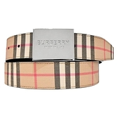 【南紡購物中心】BURBERRY 經典格紋帆布版扣雙面男士皮帶(卡其x黑)
