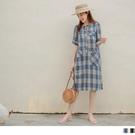 《AB15459-》高含棉配色格紋不對稱口袋短袖洋裝 OB嚴選