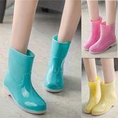 女雨鞋女士春時尚果凍中短筒加棉雨靴防水防滑水鞋大碼膠鞋 綠光森林