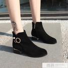2019新款加絨馬丁短筒女靴子粗跟黑色低跟女鞋網紅透氣切爾西單靴 韓慕精品