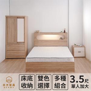 【本木】洛根房間五件組-單大3.5尺 床墊+床頭+三抽床底+邊櫃+衣櫃梧桐色
