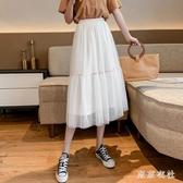 白色網紗夏季紗裙 蛋糕裙仙女裙半身裙女春夏2020新款高腰顯瘦裙子 JX1506『東京衣社』