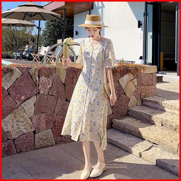 春夏短袖洋裝 法式碎花雪紡連衣裙女夏裝新款收腰顯瘦桔梗裙套頭中長裙 9272 依多多