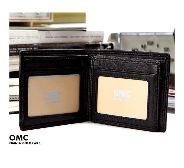 OMC - 柔軟羊皮款真皮6卡2照左右翻短夾