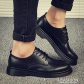 夏季男鞋透氣黑色休閒皮鞋男士韓版潮流馬丁大頭百搭商務正裝潮鞋-ifashion