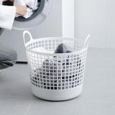 【日本like-it】北歐圓形洗衣收納籃-附手把白