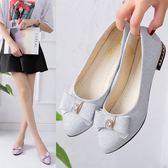 單鞋女韓版低跟百搭尖頭蝴蝶結女鞋淺口平底鞋休閒小皮鞋 蘇迪蔓