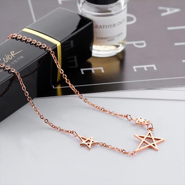 316L白鋼 3星星造型設計 鍍玫瑰金色 優雅迷人 甜美女孩 送禮物必備 單條價【AKS1272】哈飾奇