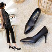 職業鞋職業女鞋2018春季新款潮高跟鞋黑色皮鞋單鞋尖頭細跟中跟工作鞋女-大小姐韓風館
