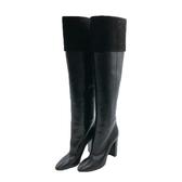 【台中米蘭站】全新品 YSL 小牛皮絨面高筒靴(529476-黑)
