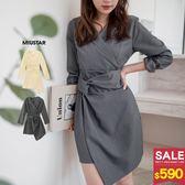 MIUSTAR 交疊襯衫領不規則下襬設計感洋裝(共2色)【NG001656】