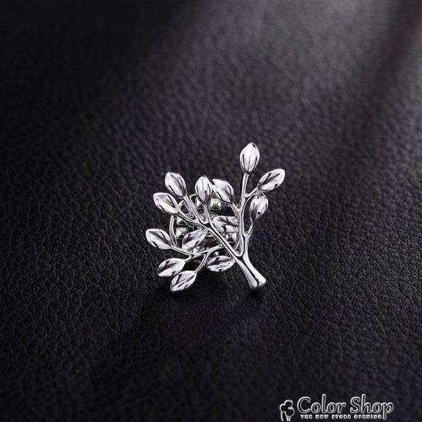 歐美樹葉男士胸針復古英倫西裝胸花配飾高檔襯衫領針領扣潮人徽章color shop