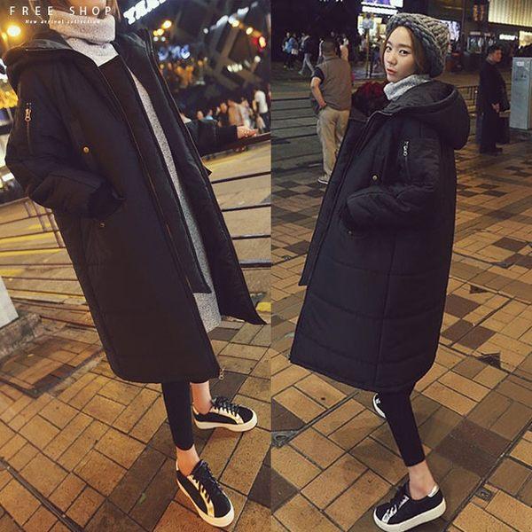 [現貨] 韓國風格 情侶羽絨棉風衣外套大衣 韓國匹諾曹朴信惠款超長款長版保暖大衣【QZZZ11067】