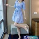 襯衫洋裝 女士襯衫夏季新款大碼輕熟風洋裝法式小眾收腰顯瘦氣質條紋裙子 星河光年