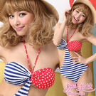 *╮粉紅拉拉【PSW81】極‧性感→S曲線露腰遮肚‧美式風格平口式比基尼‧泳裝‧藍色