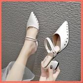 包頭半拖鞋女懶人外穿時尚網紅穆勒鞋尖頭半托女鞋新款新款高跟鞋