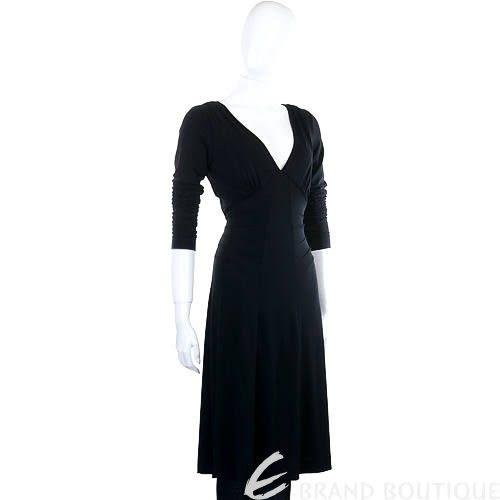 PHILOSOPHY 黑色V領長袖洋裝 0940170-01