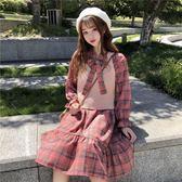 秋裝女新款套裝時尚格子長袖裙子洋裝馬甲裙早秋兩件套網紅連身裙