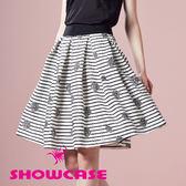 【SHOWCASE】甜美玫瑰條紋及膝百褶裙(黑)