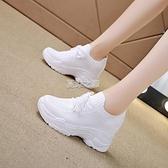 小白鞋 內增高小白鞋女新款春季飛織網面休閒運動鞋透氣厚底老爹鞋秋