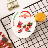 【BlueCat】聖誕節橢圓白底瞇眼老人棒棒糖吸管裝飾卡 派對裝飾 (50入)
