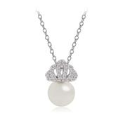 項鍊 純銀鍍白金鑲鑽墜飾-古典珍珠生日情人節禮物女飾品73ct47【時尚巴黎】
