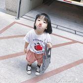 女童T恤 夏季新款女童短袖T恤兒童夏裝純棉印花半袖體恤寶寶卡通上衣  新年下殺