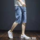 七分褲男夏季薄款2021新款寬鬆直筒五分短褲潮牌韓版潮流牛仔中褲 3C優購
