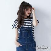 Victoria  肩綁帶變化短袖T-女-藍白條