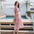 VK精品服飾 韓系碎花沙灘裙短袖洋裝...