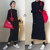 立領洋裝 韓國極簡主義復古明線設計顯瘦立領長款針織打底洋裝小黑裙-Milano米蘭