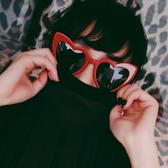 個性心形太陽眼鏡 前衛愛心貓眼墨鏡大框眼鏡【多多鞋包店】j41