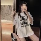 中長款T恤 短袖t恤女2020春夏裝新款韓版中長款寬鬆網紅chic小熊印花上衣潮 店慶降價