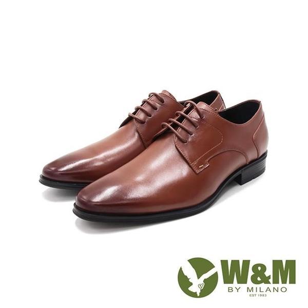 【南紡購物中心】W&M(男)氣墊感 素面綁帶皮鞋 男鞋-棕(另有黑)