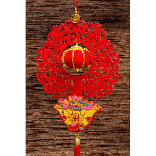 紅絨發財樹造型+立體小燈籠吊掛飾 家居風水辦公室裝飾  勝億開運招財飾品批發零售